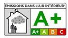Information sur le niveau d'émission de substances volatiles dans l'air intérieur, sur une échelle de classe allant de A+ (très faibles émissions) à C (fortes émissions)