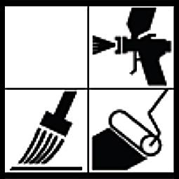 Application rouleau, brosse, pistolet