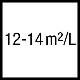 Theoretisch rendement: 12-14 m²/L