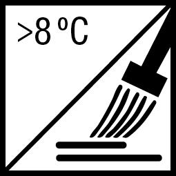 Verwerkingstemperatuur: minimaal 8ºC