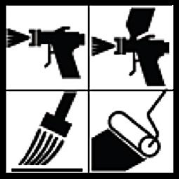 Met kwast, rolborstel, airless spray en spuitpistool