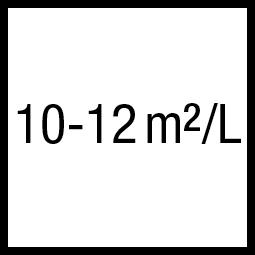 Theoretisch rendement: 10-12 m²/L