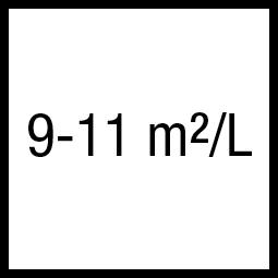 Theoretisch rendement: 9-11 m²/L