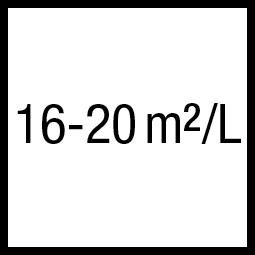 Theoretisch rendement: 16-20 m²/L