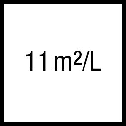 Theoretisch rendement: 11 m²/L
