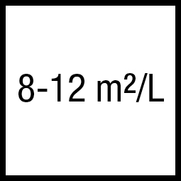 Theoretisch rendement: 8-12 m²/L