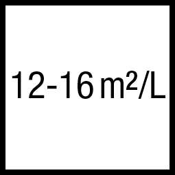 Theoretisch rendement: 12-16 m²/L