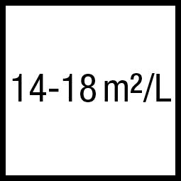 Theoretisch rendement:14-18 m²/L